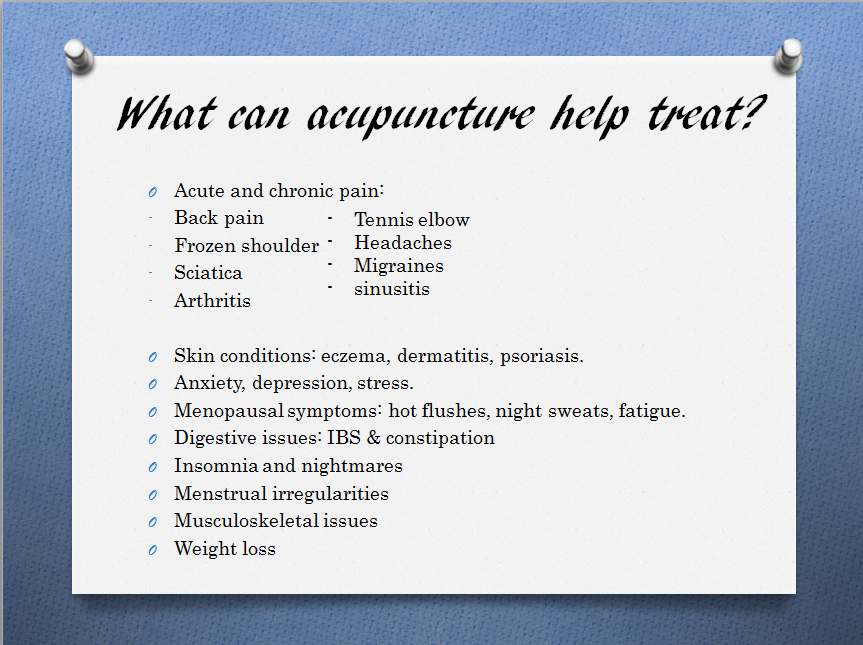 what can acupuncture help treat